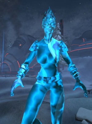 Fire flight travel power, tinted blue -- look, Ma, I'm the T-1000!