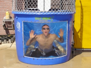 dunk tank guy under water