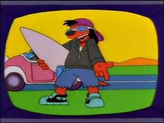The name's Poochie D. And I rock this telly. I'm half Joe Camel and a third Fonzarelli. I'm the kung-fu hippie. From gangsta city. I'm a rappin' surfer. You the fool I pity.