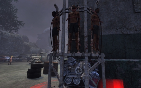 """Blood Stacks in TSW -- exceedingly yucky contraptions that the vampires use to """"milk"""" blood from humans for consumption.  I always feel bad for these guys, but you don't have an option to rescue them, just put them out of their misery.  This picture is of one of the more complicated contraptions I've seen."""