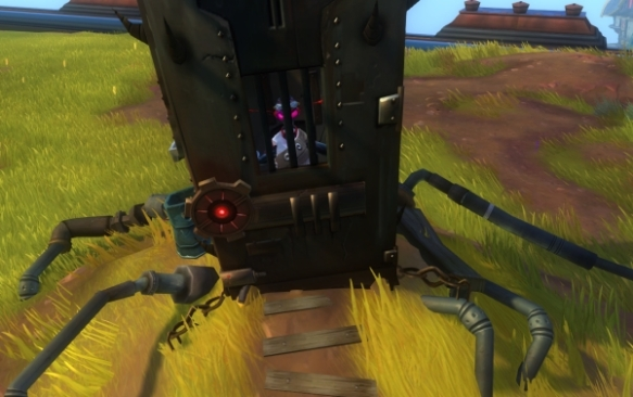 In WildStar, outhouses aren't just a form of outdoor decor -- they're functional!  Wait, how does a robot poop again?